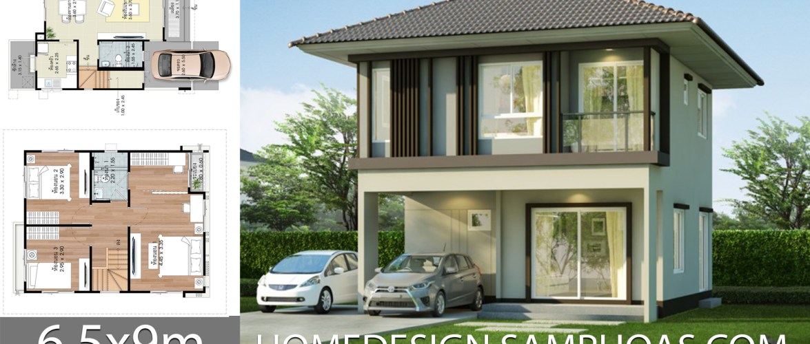 Home design plans 6.5x9m with 3 bedrooms