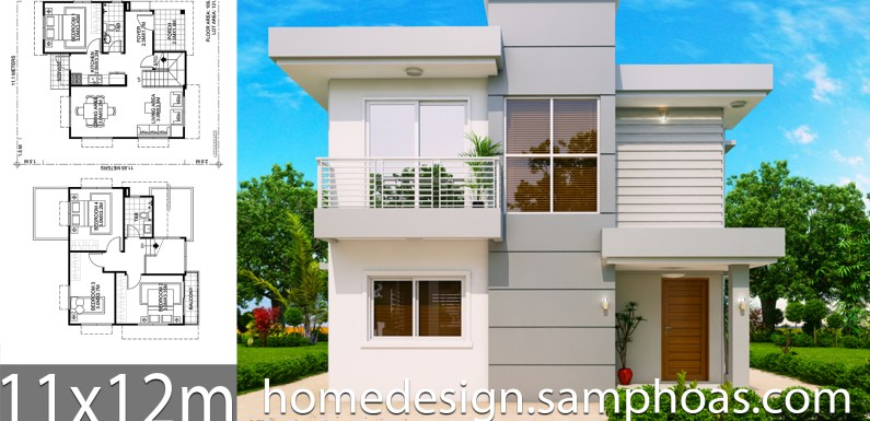 House Design Plans 11x12m with 4 bedrooms