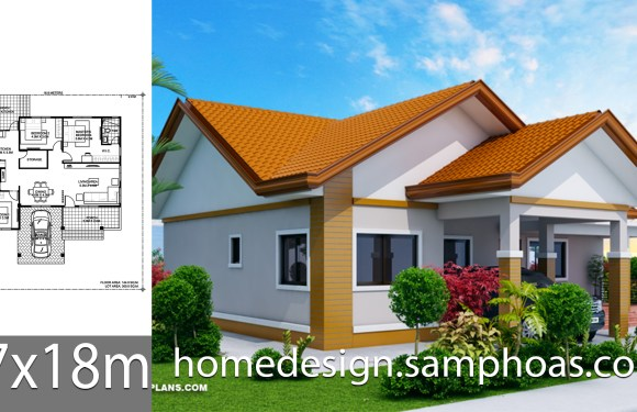 House Design Plans 17x18m with 3 bedrooms