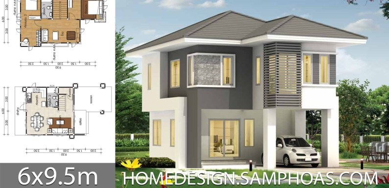 Small Home design 6×9.5m with 2 bedrooms