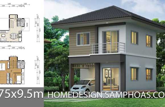 Small Home design Plans 6.75×9.5m with 2 Bedrooms