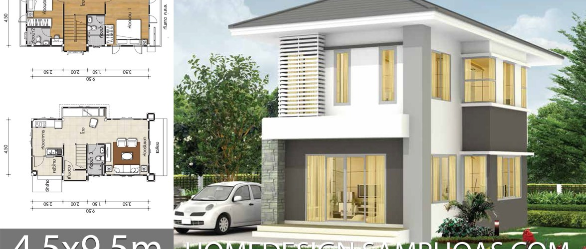 Small House Plans 4.5×9.5m with 2 bedrooms