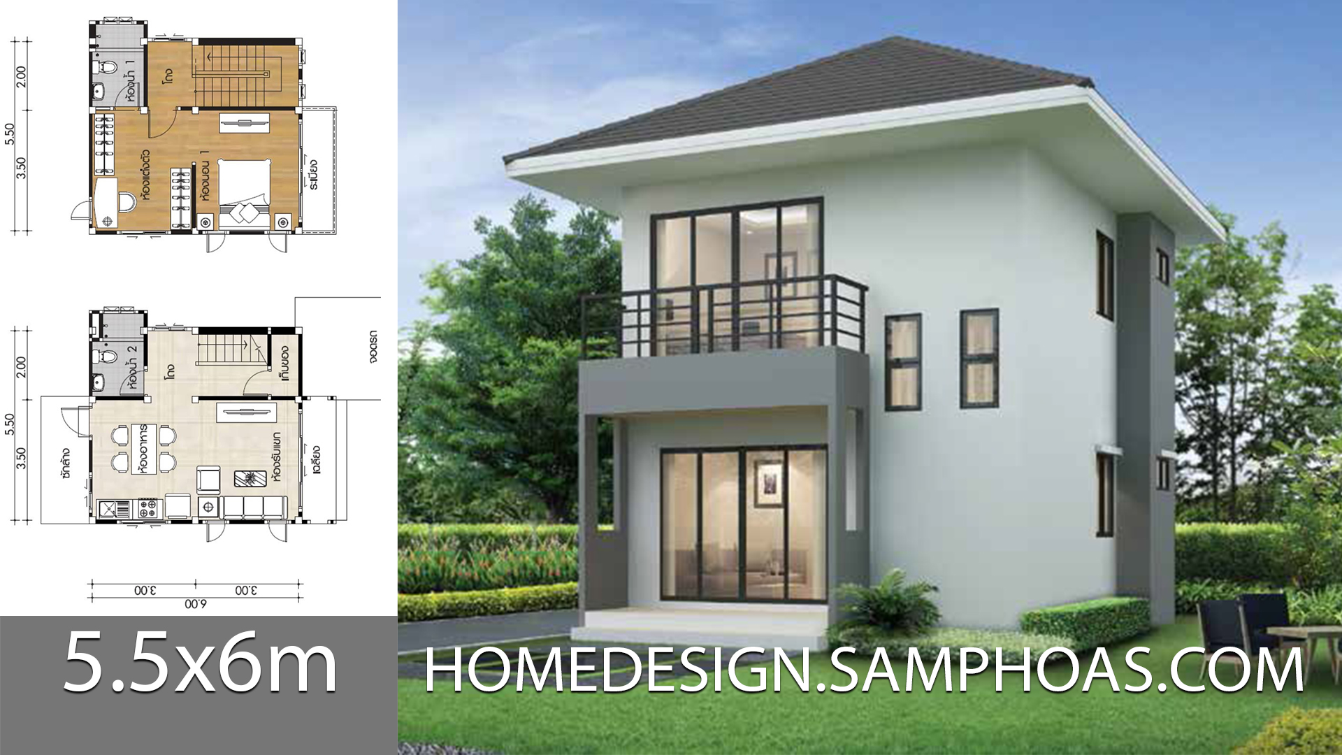 Small House Plans 5 5x6m With 1 Bedroom Home Ideas