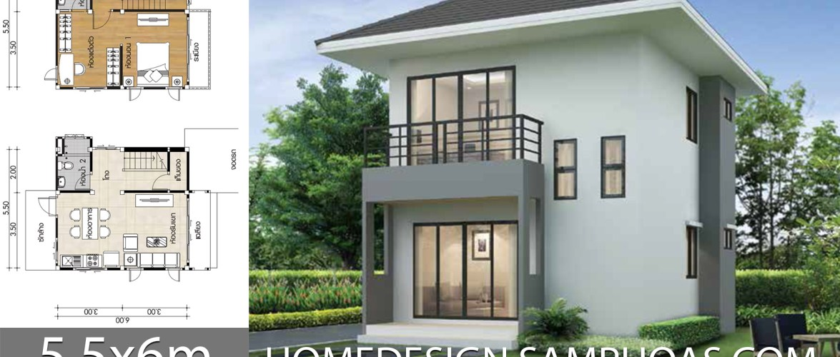 Small House Plans 5.5x6m with 1 Bedroom