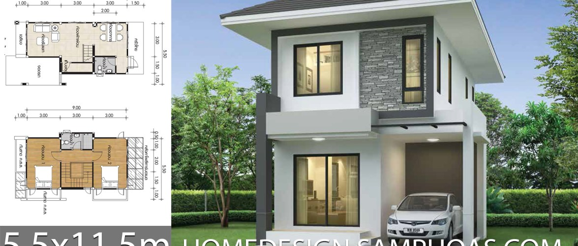 Small House Design Plans 5 5x11 5m With 2 Bedrooms Home Ideas