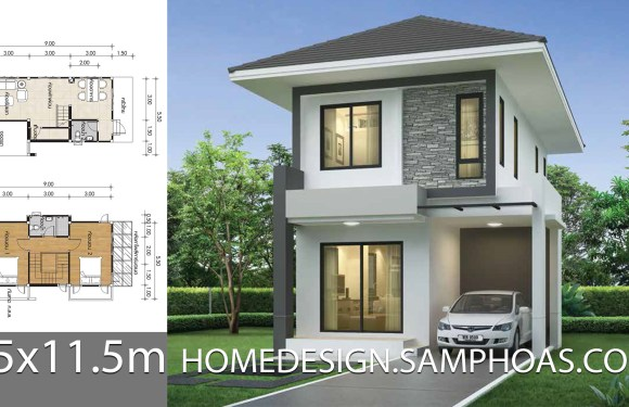 Small House design plans 5.5×11.5m with 2 bedrooms