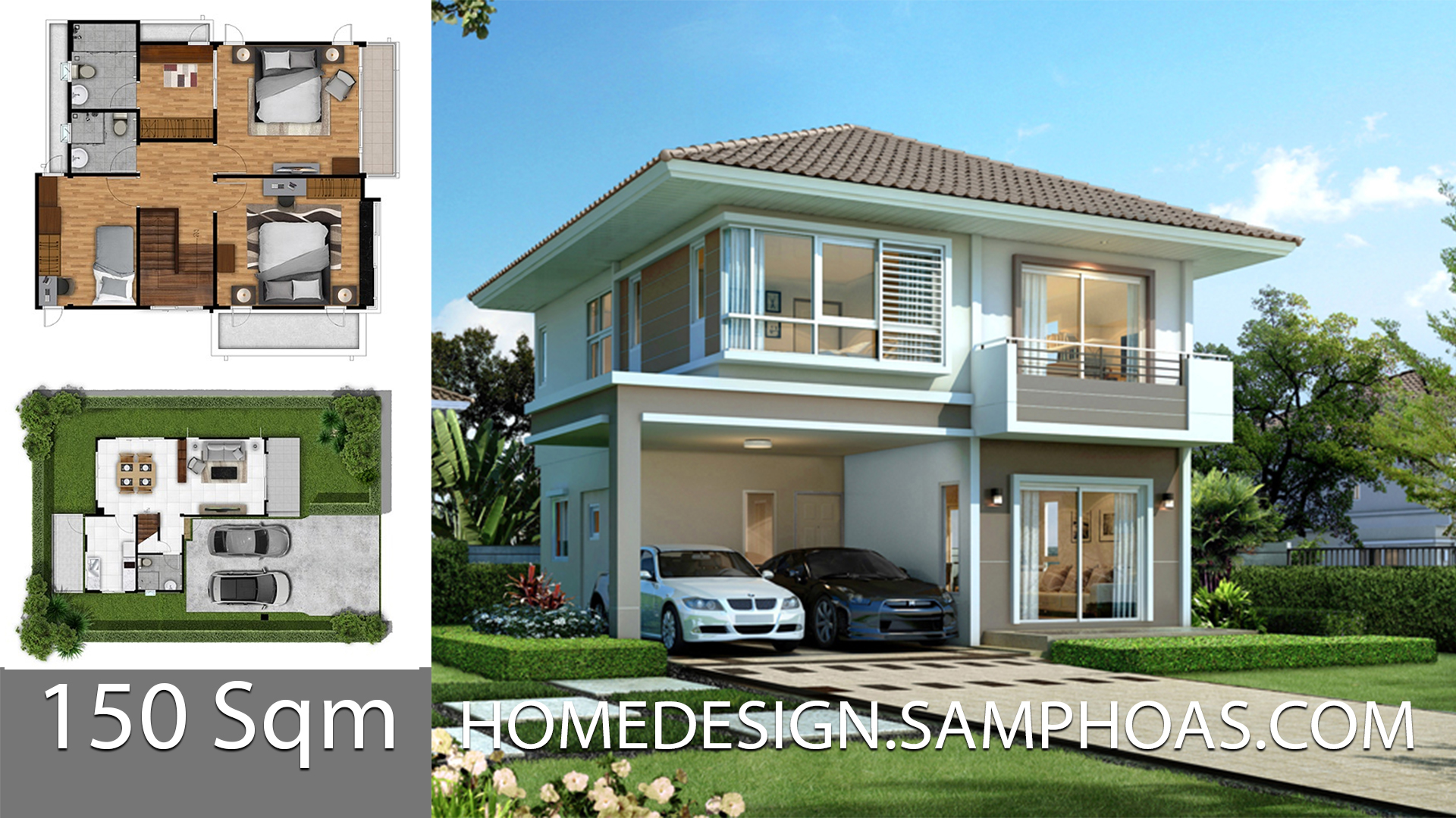150 Sqm Home design Plans with 3 bedrooms - Home Ideas