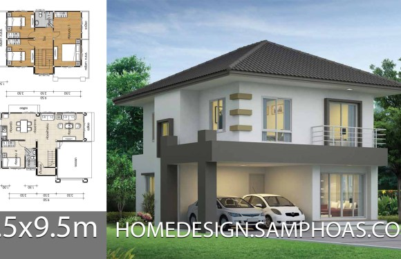 House design plans 8.5×9.5m with 4 bedrooms