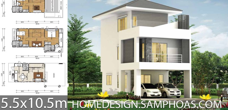 Small House design plans 5.5×10.5m with 3 bedrooms