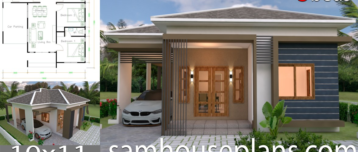 House Plans Design 10×11 with 3 Bedrooms Roof tiles