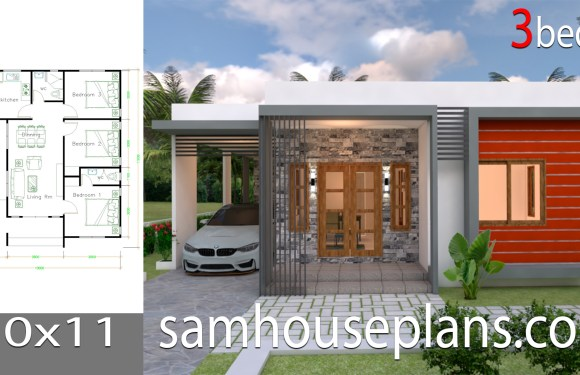 House Plans Design 10×11 with 3 Bedrooms