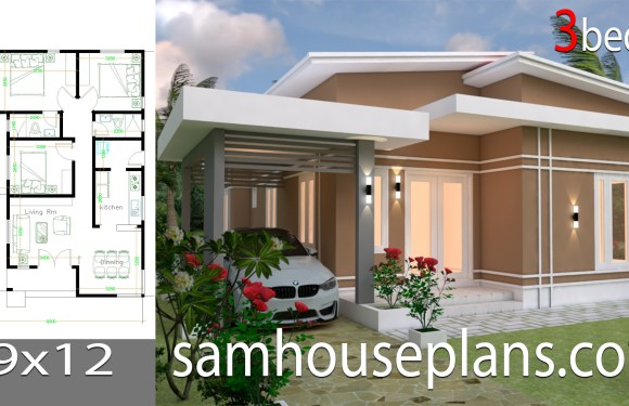 House Plans Design 9×12 with 3 bedrooms roof tiles