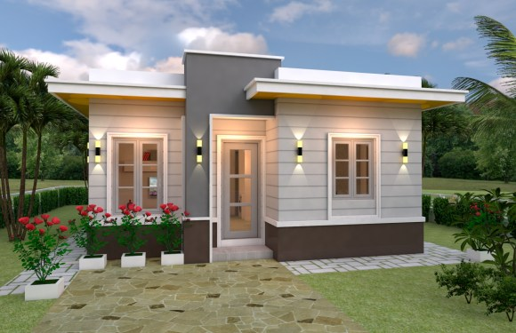 House Plans 7×10 with 3 Bedrooms with terrace roof