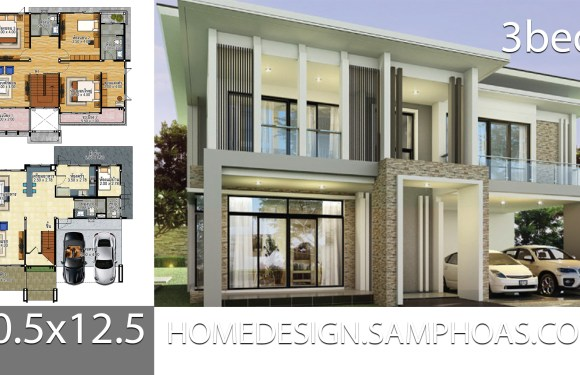 House plans idea 10.5×12.5 with 3 bedrooms