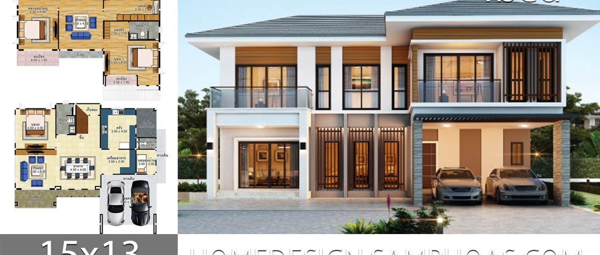 House Plans Idea 15×13 with 4 Bedrooms