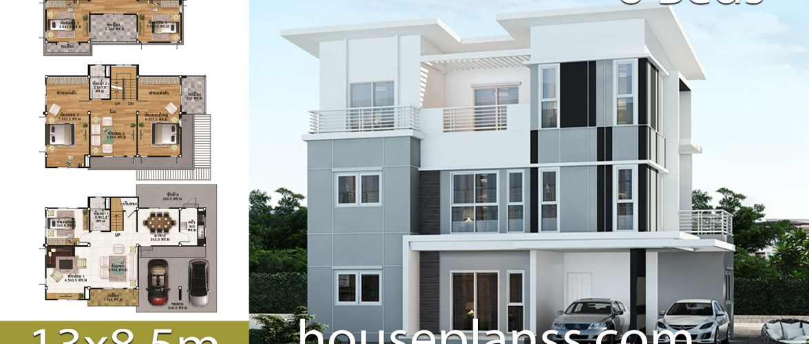 House Plans Idea 13×8.5 with 6 bedrooms
