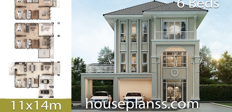 House design Plans Idea 11×14 with 6 bedrooms