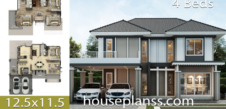 House design Plans Idea 12.5×11.5 with 4 bedrooms