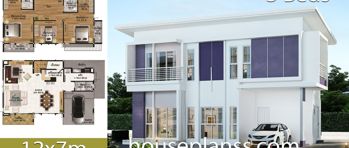 House design Plans Idea 12.x7 with 3 bedrooms