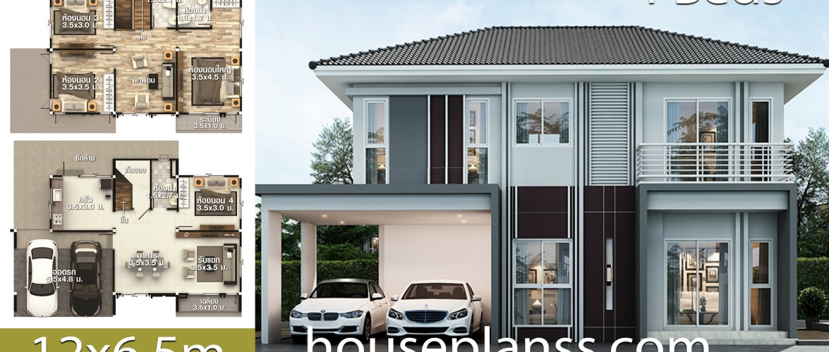 House design Plans Idea 12×6.5 with 4 bedrooms
