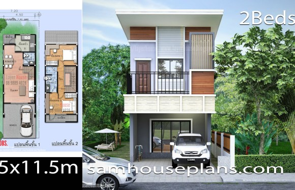 House Plans Idea 4.5×11.5m with 2 Bedrooms
