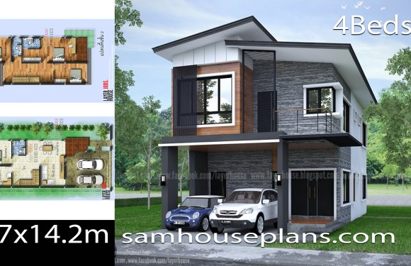 House Plans Idea 6.7×14.2m with 4 Bedrooms