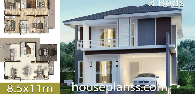 House design Plans Idea 8.5×11 with 3 Bedrooms