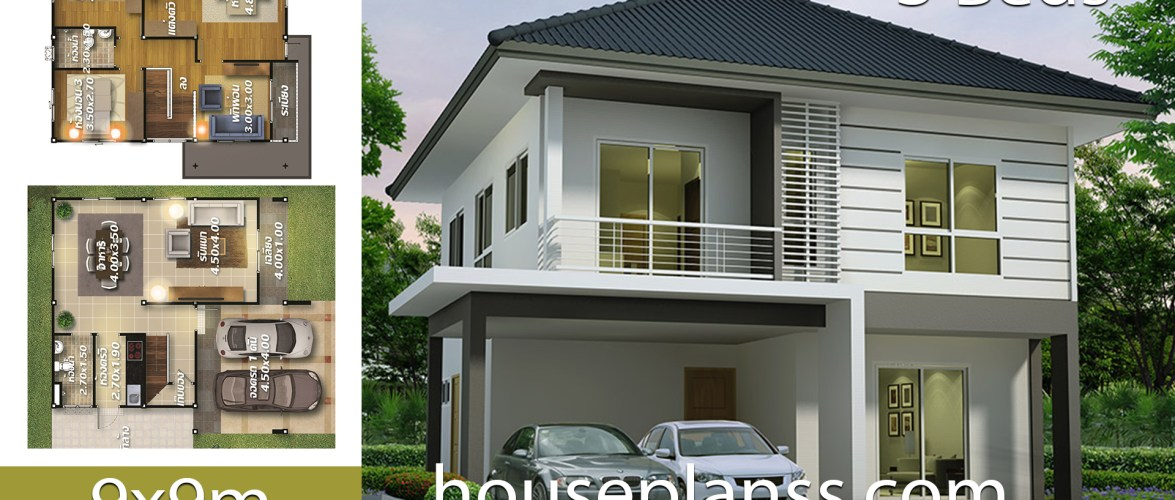 House design Plans ides 9×9 with 3 bedrooms
