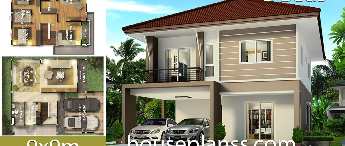 House design plans Idea 9×10 with 3 bedrooms