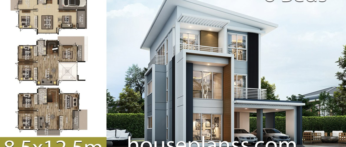 House design plans idea 8.5×12.5 with 6 bedrooms