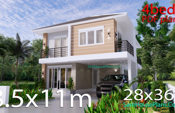 House Design Plans 8.5×11 with 4 Bedrooms