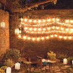 Awesome Outside Garden Party Decoration Ideas Garden Party Night Beautiful Garden Party Lighting Ideas Brick Wall Accents Hanging Pendant Lamp Homedesign121