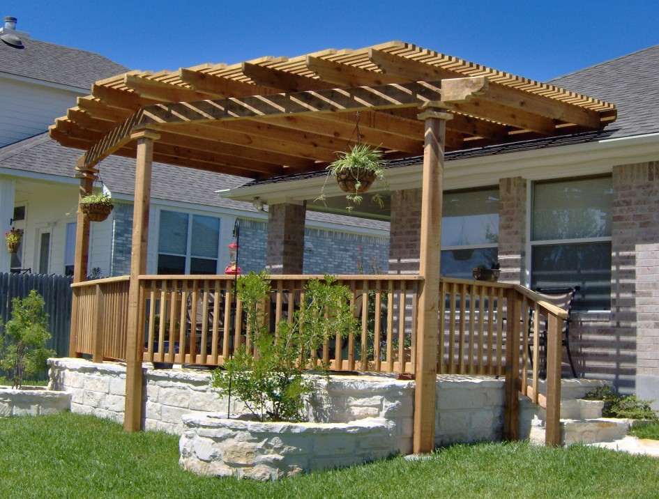 Exterior Backyard Patio Pergola Ideas Design With Wooden ... on Backyard Exterior Design id=25224