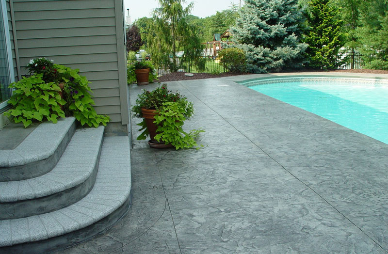 Stamped Concrete Patio Stairs Ideas And Around Small Pool ... on Backyard Patio Steps id=93082
