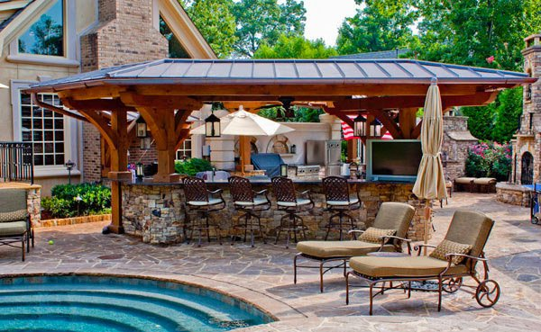 outdoor kitchen with pool and patio 15 Outdoor Kitchen Designs for a Great Cooking Aura | Home