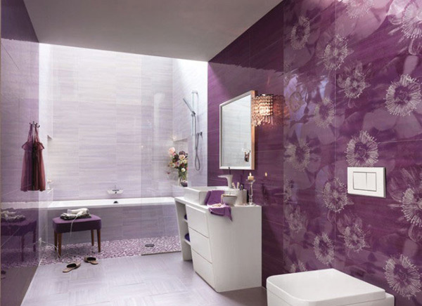 15 Lovely Bathrooms with Decorative Wall Tiles | Home ... on Floral Tile Bathroom Ideas  id=46062
