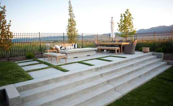 15 Concrete Exterior Staircase Design | Home Design Lover on Backyard Concrete Patio Designs  id=97699