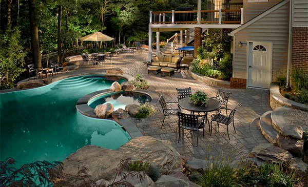 15 swimming pool decks with stone and