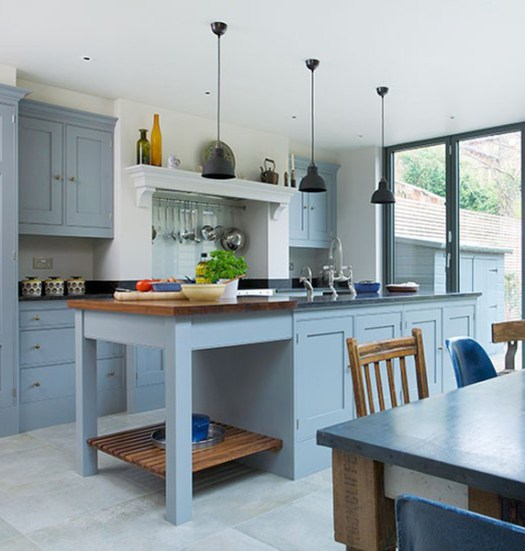 Blue Grey Kitchen With Island Unit