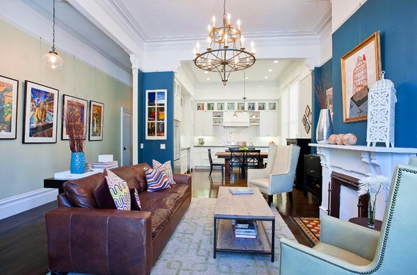 15 Interesting Combination of Brown and Blue Living Rooms   Home     brown blue living rooms