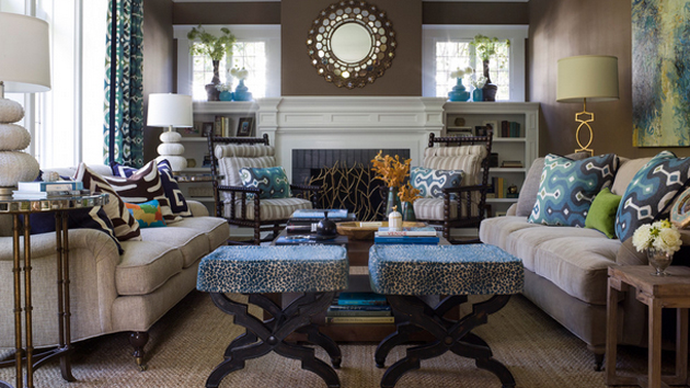 15 Interesting Combination of Brown and Blue Living Rooms   Home     15 Interesting Combination of Brown and Blue Living Rooms   Home Design  Lover