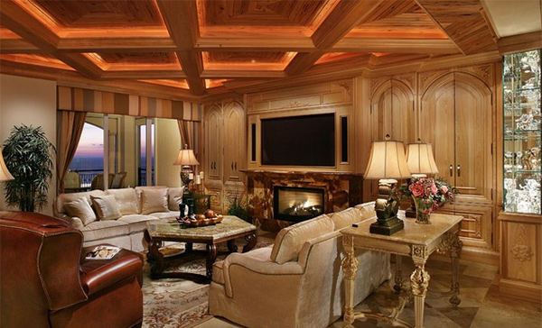 15 Beautiful Traditional Coffered Ceiling Living Rooms