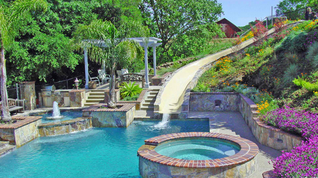 15 Gorgeous Swimming Pool Slides | Home Design Lover on Dream Backyard Ideas id=24313
