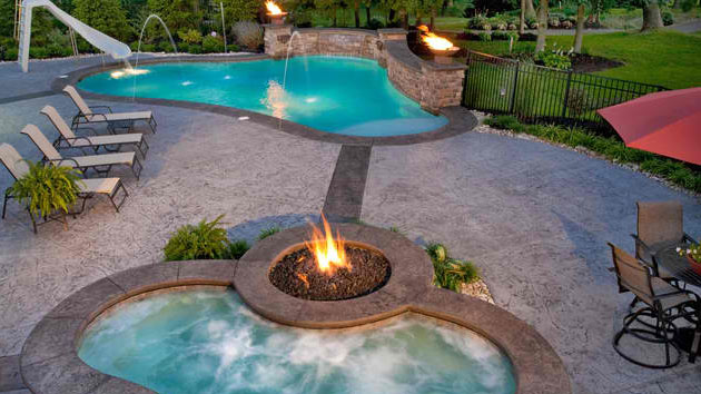 traditional pools with fire pits