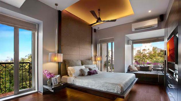 15 dark wood flooring in modern bedroom