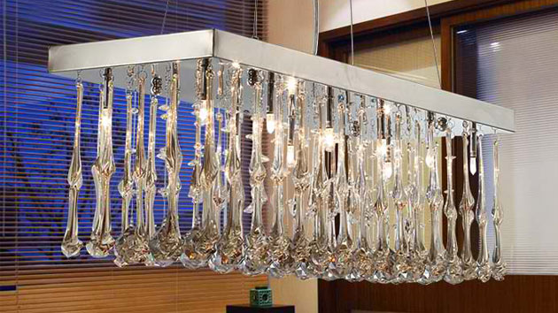 15 Glamorous Crystal Rectangular And Linear Pendant Lights