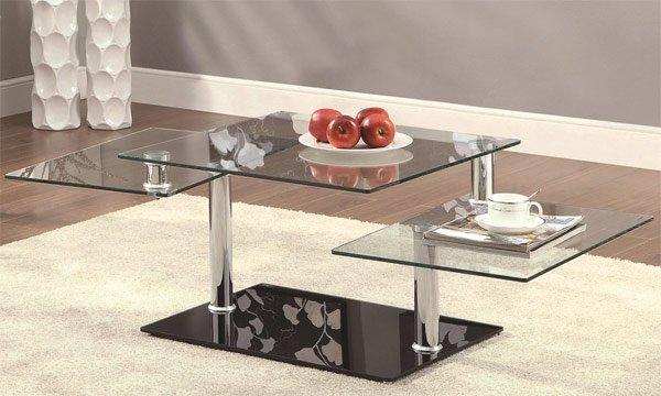 swiveling glass coffee table