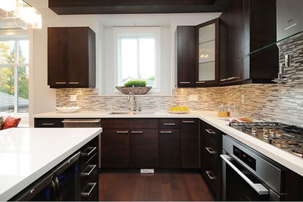 22 Beautiful Kitchen Colors with Dark Cabinets | Home ... on Backsplash Ideas For Dark Cabinets And Light Countertops  id=44045