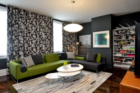 20 Gorgeous Black and Green Living Rooms   Home Design Lover black green living rooms
