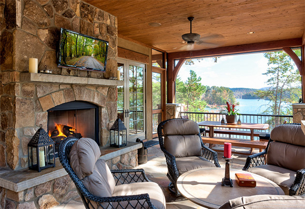 22 Porch Designs Using Natural Stone Pavers | Home Design ... on Lakefront Patio Ideas id=45639
